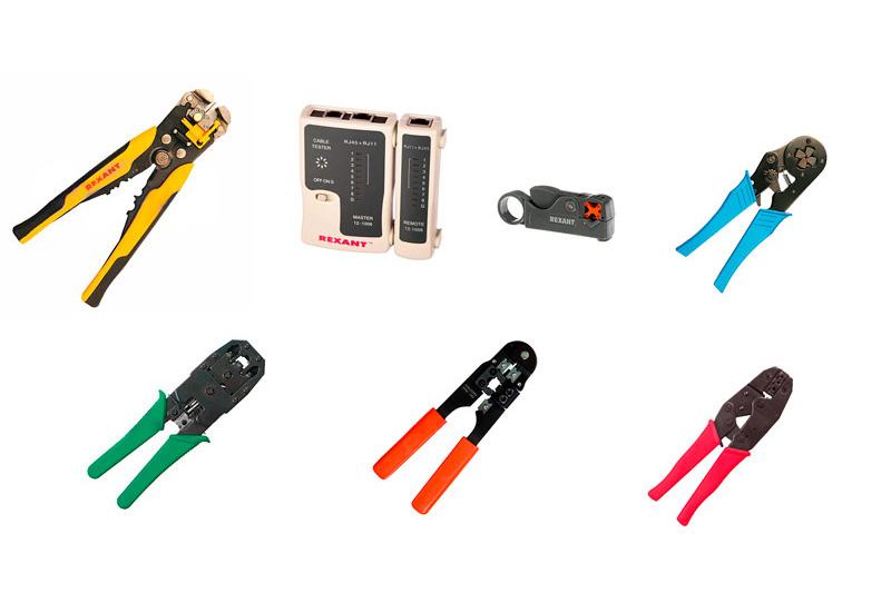Инструменты Rexant для обжима разъемов и зачистки кабеля